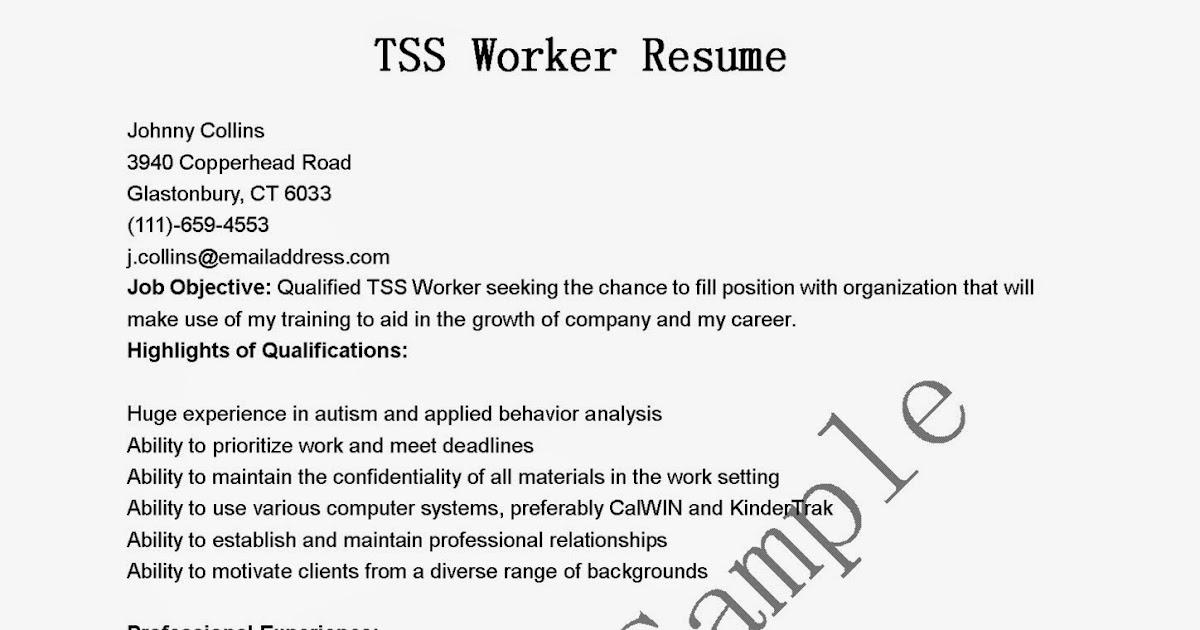 Resume Samples TSS Worker Resume Sample - tss worker sample resume
