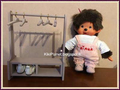 Penderie en bois fait main pour Kiki ou Monchhichi armoire portant handmade meuble
