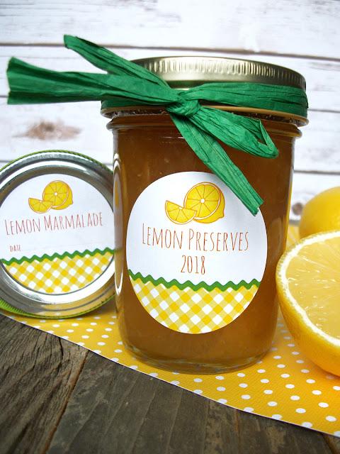 Gingham Lemon Canning Jar Labels