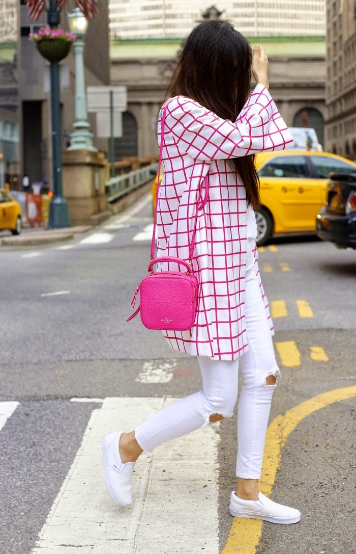 Silk nyc pink windowpane coat, hot pink outfit, hot pink bag, kate spade ny bag, white tee outfit, white jeans outfit, vans slip on, street style, nyc, fashion blog, Karen walker super duper sunglasses, memorial day sale