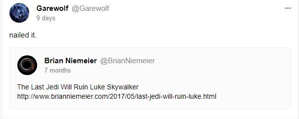 Last Jedi will ruin Luke