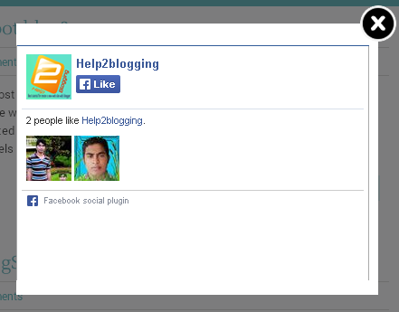 Facebook popup like box widget for website or blogger