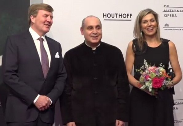 Queen Maxima attended premiere of 'Gurre-Lieder' opera performed at Dutch National Opera and Ballet. Natan Dress and Christian Louboutin pumps