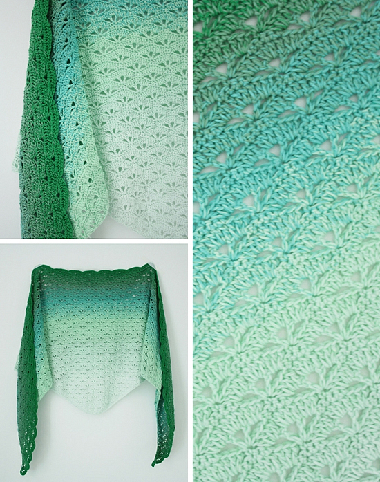 Crochet pattern Scheepjes Whirl, crochet triangle shawl: Cloud No.9 Shawl