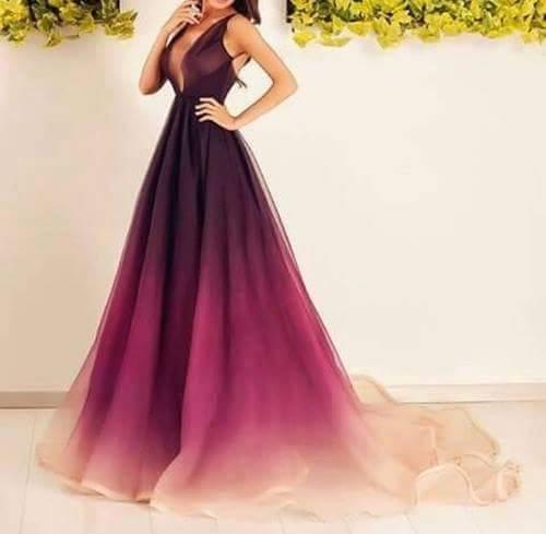 długa suknia, śliwkowo fioletowa z trenem