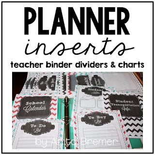Teacher binder inserts to organize my teacher planner!