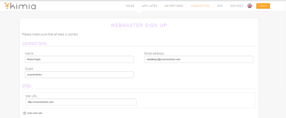 Webmaster Sign Up Process