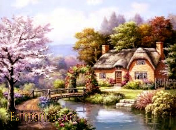 لوحات مناظر طبيعية مرسومة ورسمات فنية رائعة الجمال