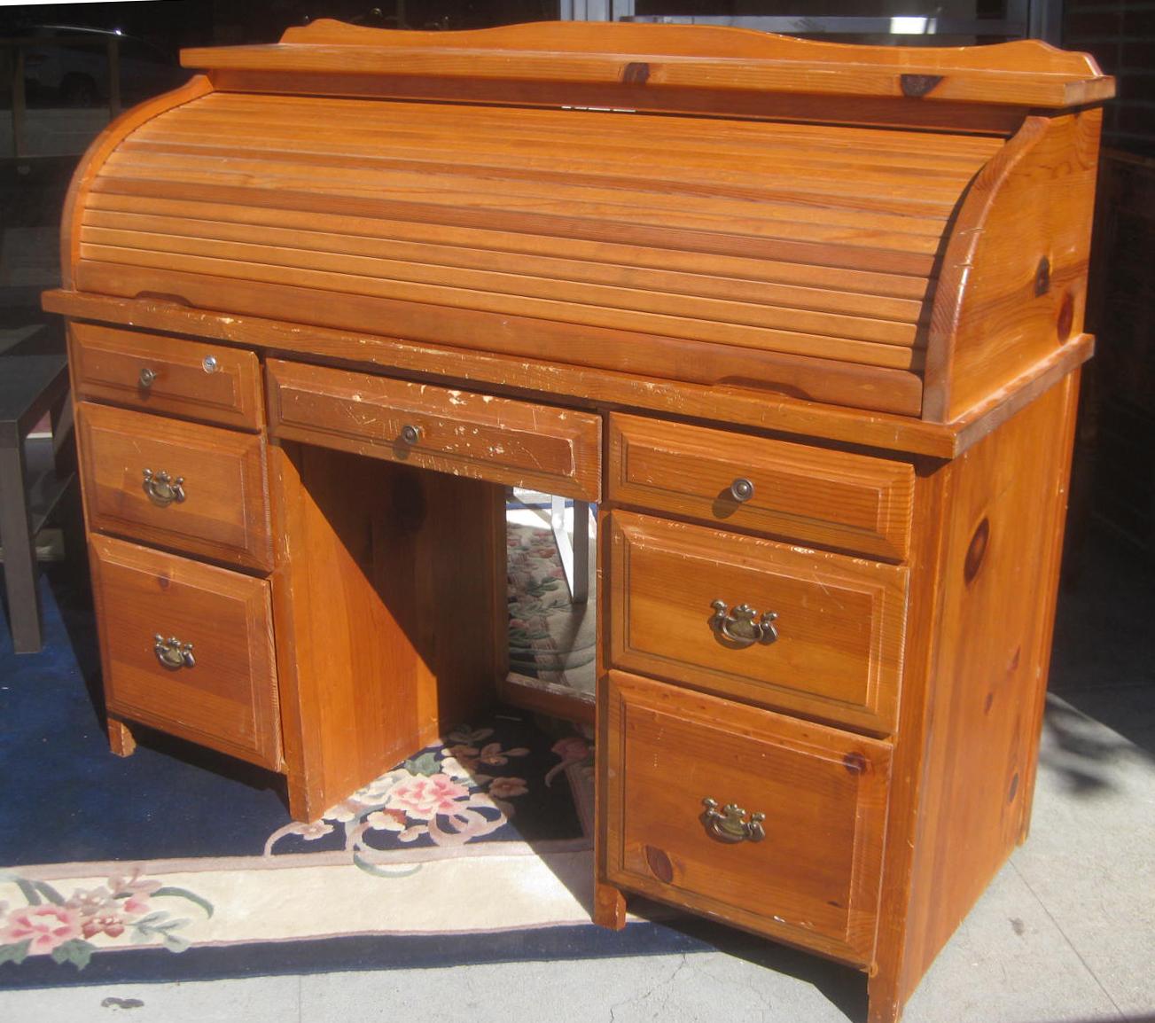UHURU FURNITURE  COLLECTIBLES SOLD  Pine Roll Top Desk