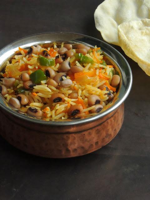 Lobia, Carrot & Bellpepper Rice