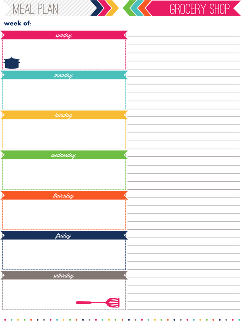 meal planning template with grocery list - iheart organizing my 2013 daily planner