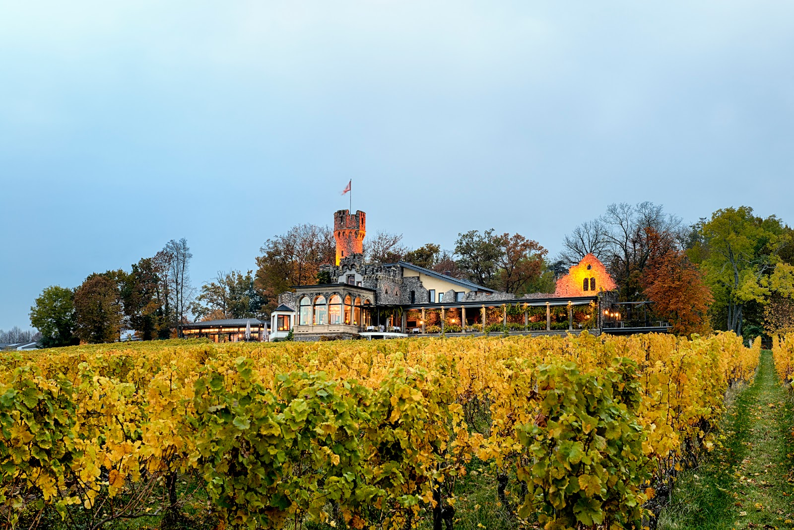 Blick auf Burg Schwarzenstein mit Restaurant Nils Henkel (JRE), Bildnachweis: Restaurant Nils Henkel | Arthurs Tochter kocht von Astrid Paul