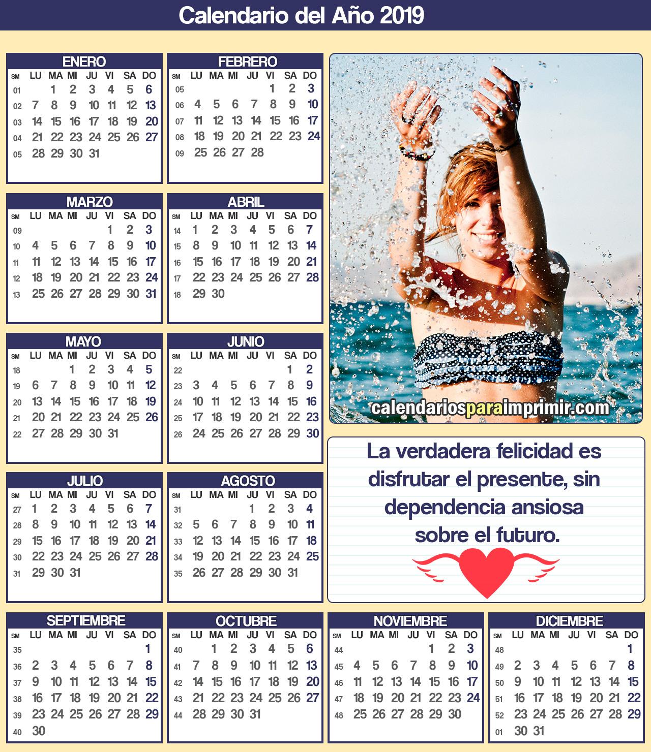 calendarios para imprimir 2019 felicidad
