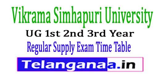 VSU UG 1st 2nd 3rd Year Regular Supply Exam Time Table 2017