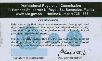 PRC License ID back