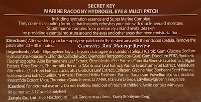 secretKey - Marine Racoony Hydro-Gel Eye & Multi Patch - INCI prodotto
