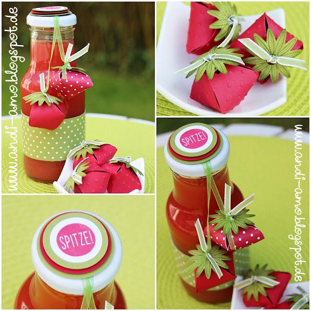 Rezept für Erdbeer-Sirup selbstgemacht Papier-Erdbeeren-Deko