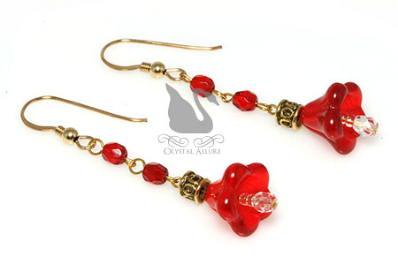 Red Poinsettia Czech Crystal Beaded Earrings (E028)