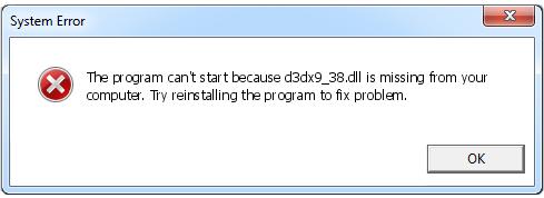 Télécharger D3dx9_38.dll Fichier Gratuit Installer