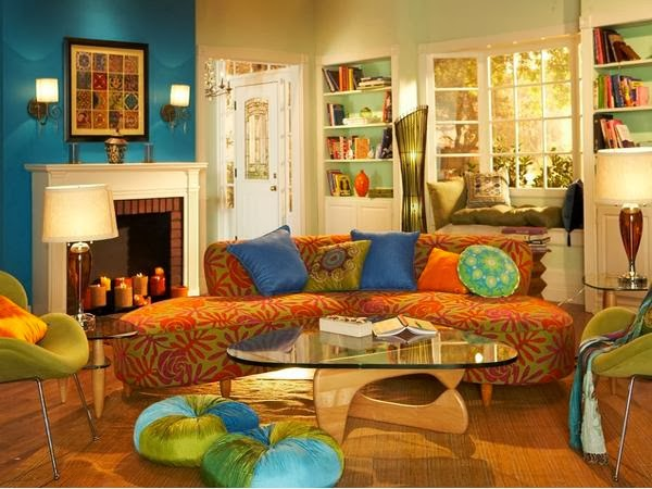 Living room design with color combination blue orange and - Orange and blue decor ...