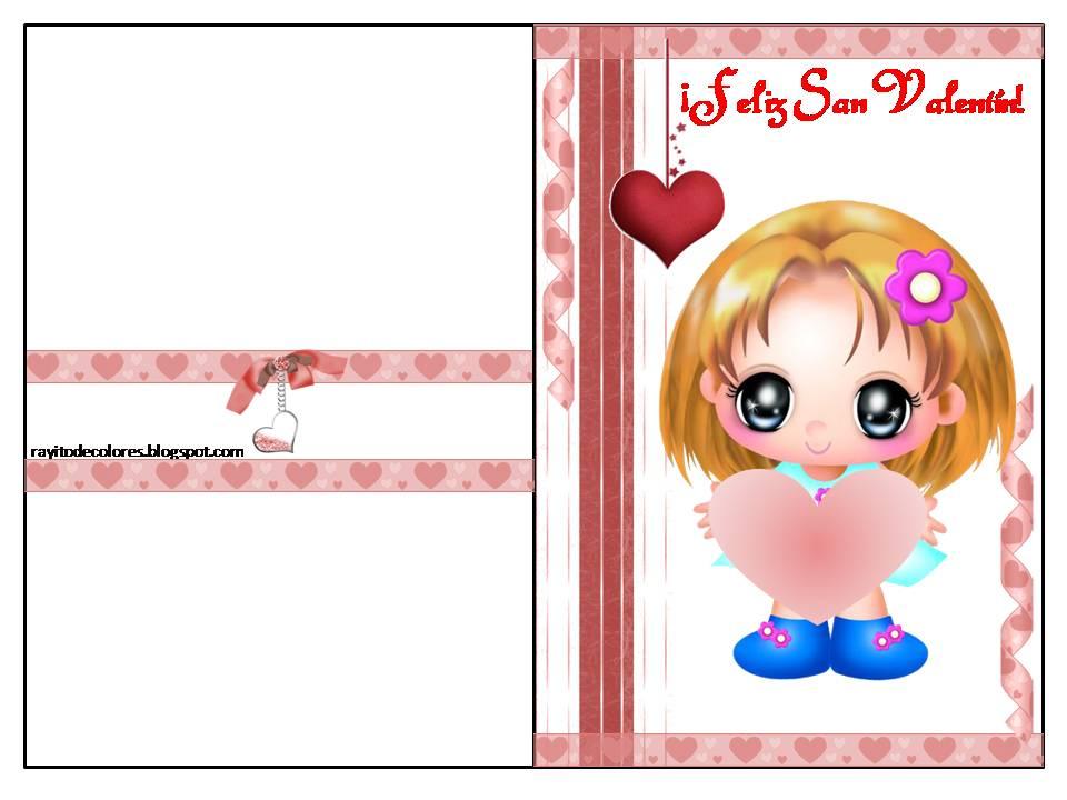Tarjeta de San Valentín de niña con corazón