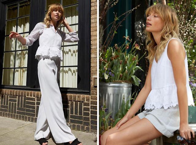 Девушки в белой одежде разных холодных оттенков белого