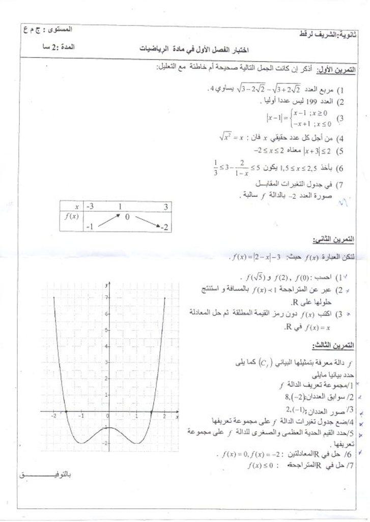 تمارين رياضيات للسنة الأولى ثانوي مع الحلول