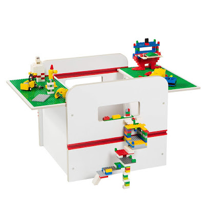 Children's box type table with sliding top