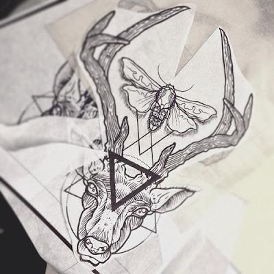 Geometric Deer Tattoos Designs