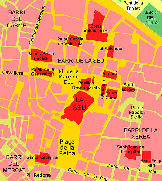 A Catedral de Valencia (Espanha) e o Cálice Sagrado - a catedral no mapa de Valência