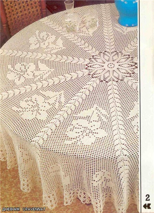 Free Filet Crochet Round Tablecloth Patterns Elcho Table