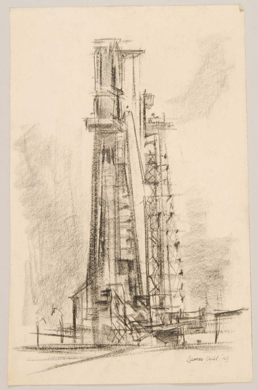 sketch of rocket on launch pad