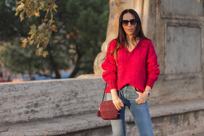Ideas de outfits looks en Valencia que sean comodos y con estilo blogger influencer con vaqueros acampanados cropped Meltin Pot y jersey lana Selected Femme