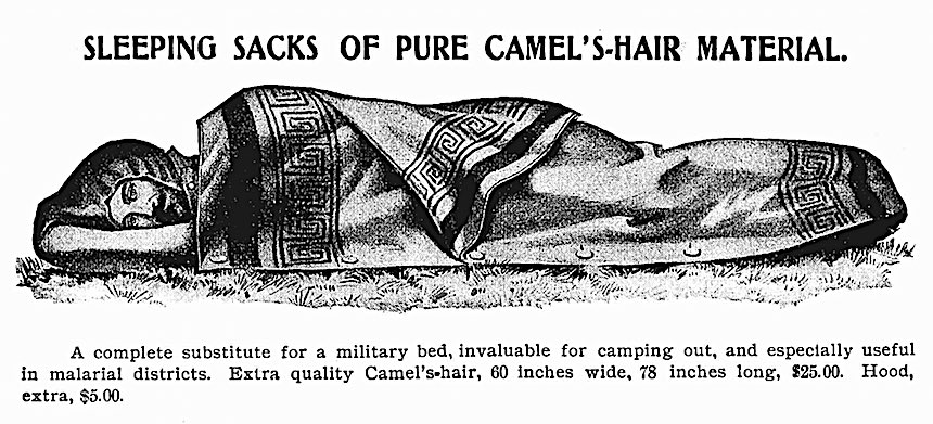 1901 sleeping bag illustration, early sleeping bag