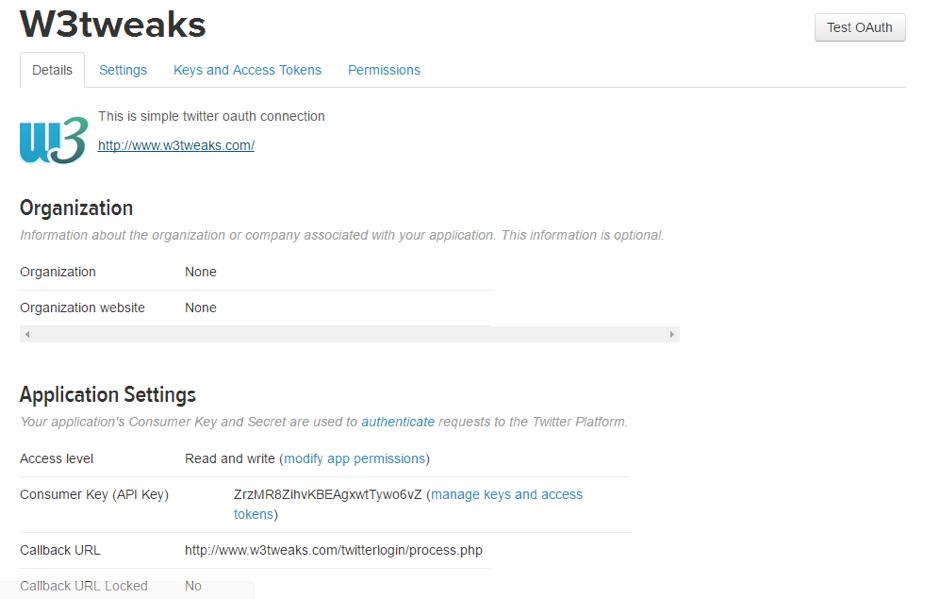 Twitter oAuth login api using php – W3TWEAKS COM