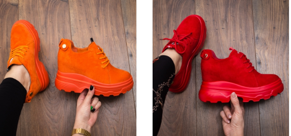 Sneakers rosii, portocalii moderni cu platforma ascunsa