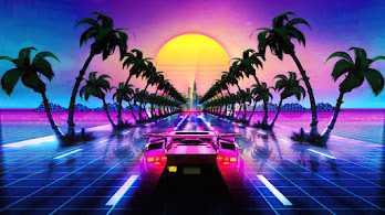 Synthwave, Sports Car, Lamborghini, Retrowave, Digital Art, 4K, #6.1246