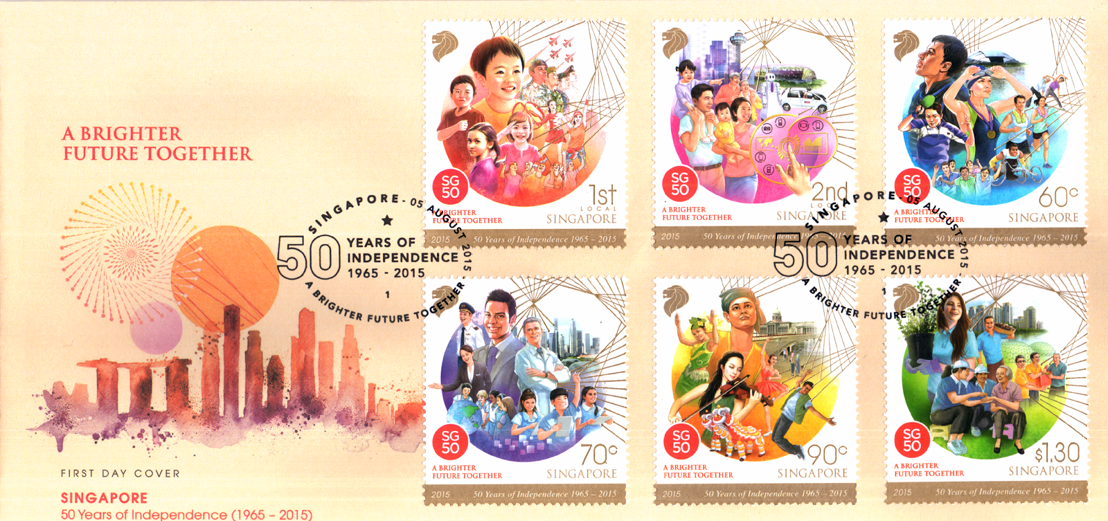 Singapore: 50 years of independence 1965-2015 - stamp set (S$4.17)
