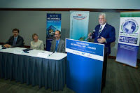 Québec Premier Philippe Couillard delivers remarks after Professor Pierre-Olivier Pineau, chair in energy sector management at HEC Montréal; MIT Vice President for Research Maria Zuber; and Ouranos Executive Director Alain Bourque sign an agreement to launch a new research collaboration to analyze cross-border, low-carbon energy policy options. (Photo Credit:  Patrick Lachance/Government of Québec) Click to Enlarge.
