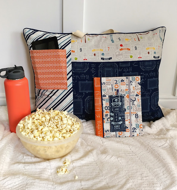 Study pillow and color block notebook cover from Game Day fabrics