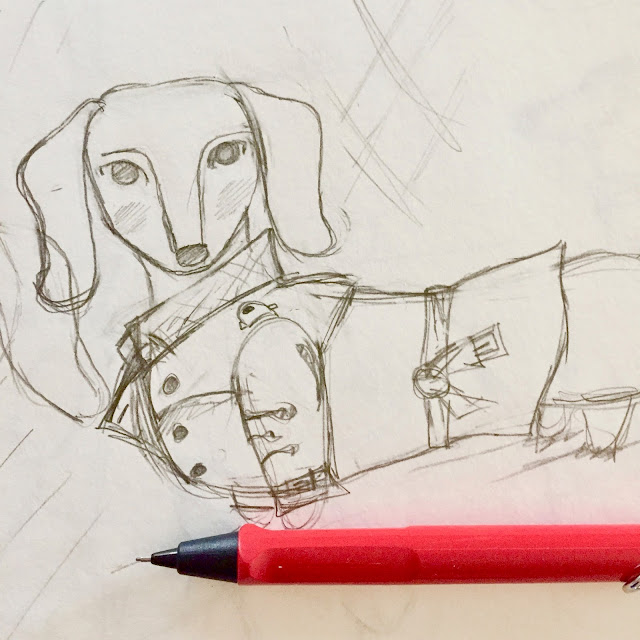 Sketch of a sophisticated Dachshund wearing a Burberry trench coat - by Amy Lamp