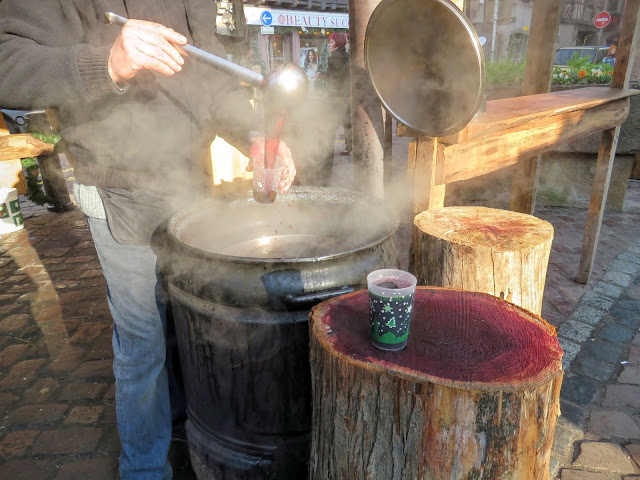 Barrel of mulled wine (vin chaud) at the Christmas Market in Obernai France