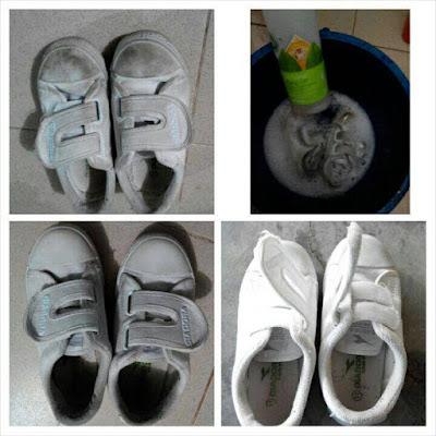 cuci kasut sekolah , tak perlu sental lebih