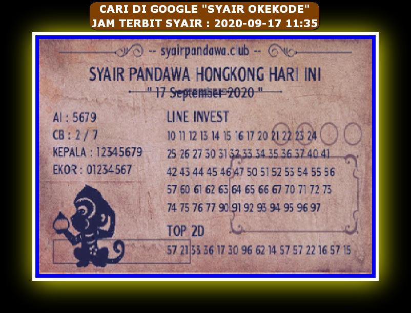 Kode syair Hongkong Kamis 17 September 2020 261