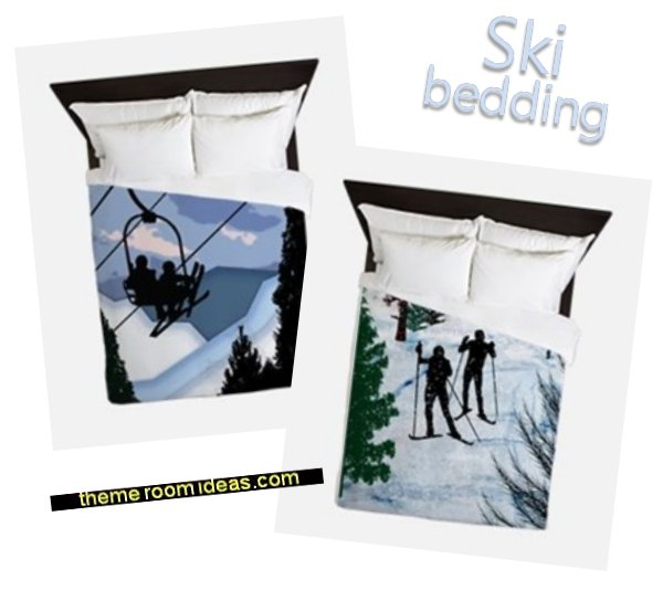 ski bedding  Ski cabin decorating - ski lodge decor - winter cabin decorating ski resort bedroom ideas - winter wall murals - ski chalet theme bedroom decorating ideas - modern rustic style winter cabin decor - Swiss alps decoration Alpine theme decorating - adventure bedroom design ideas - ski alps wall decal stickers
