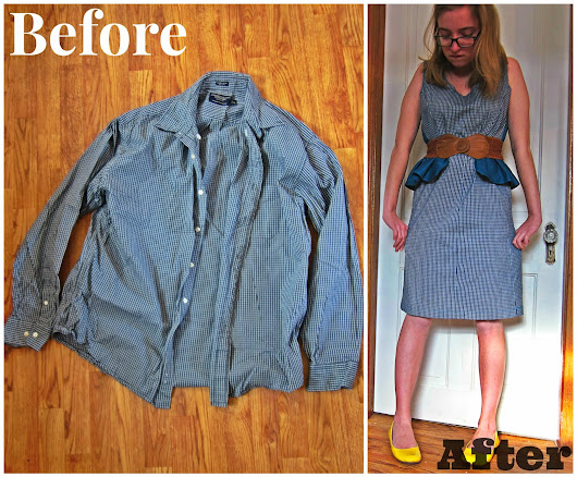 DIY Refashion: Men's Shirt to Peplum Dress