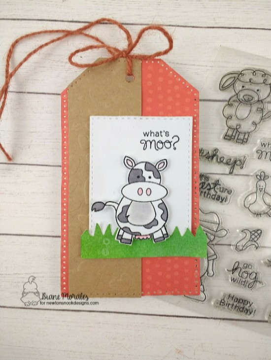What's moo by Diane features Tumbling Hearts and Farmyard Friend by Newton's Nook Designs; #newtonsnook