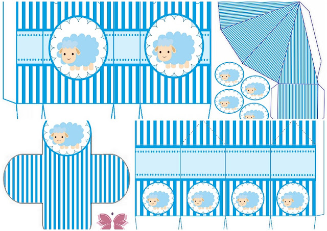 Cute Sheep for Boy Baby Party: Free Printable Boxes.