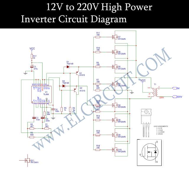 Rangkaian Inverter 12V 220V