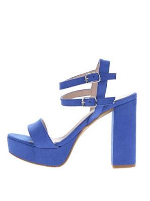 Sandale albastre OJJU cu toc gros de zi si de ocazii